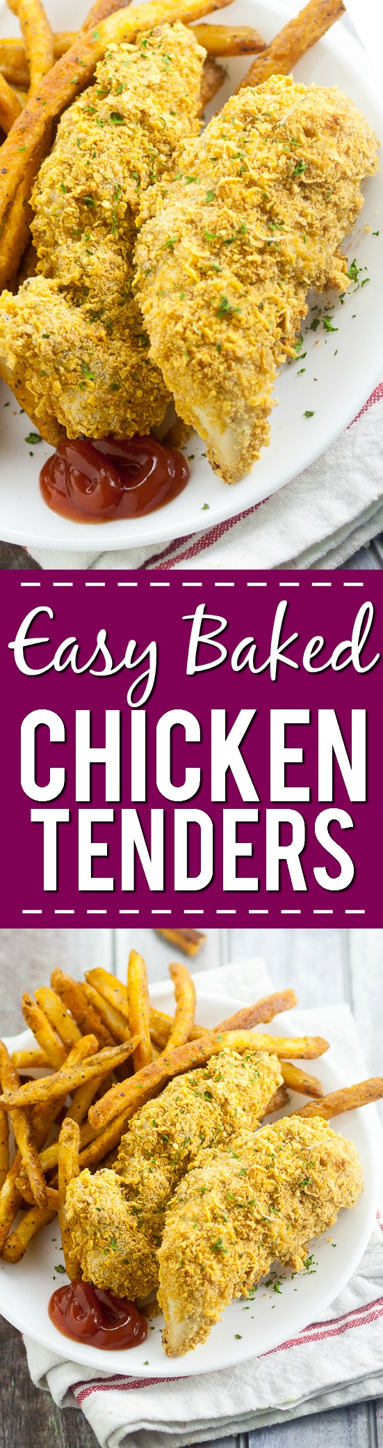 Easy Baked Chicken Tenders Recipe - Use this quick and easy recipe with basic, simple ingredients to make your own homemade Easy Baked Chicken Tenders that both you and the kids will love! Perfect easy food for kids