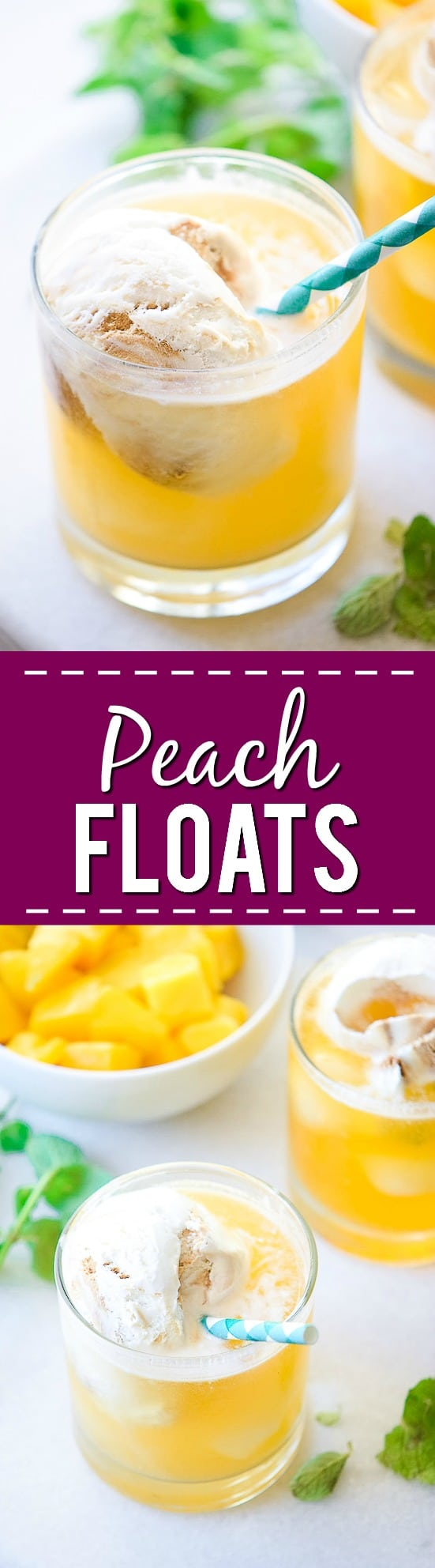 Peach Floats Recipe - Creamy, cool, and refreshing, these Peach Floats are the perfect tangy and sweet drink! Delicious for Summer and pretty for parties.   Makes a non-alcoholic drink for kids or a refreshing Summer cocktail.