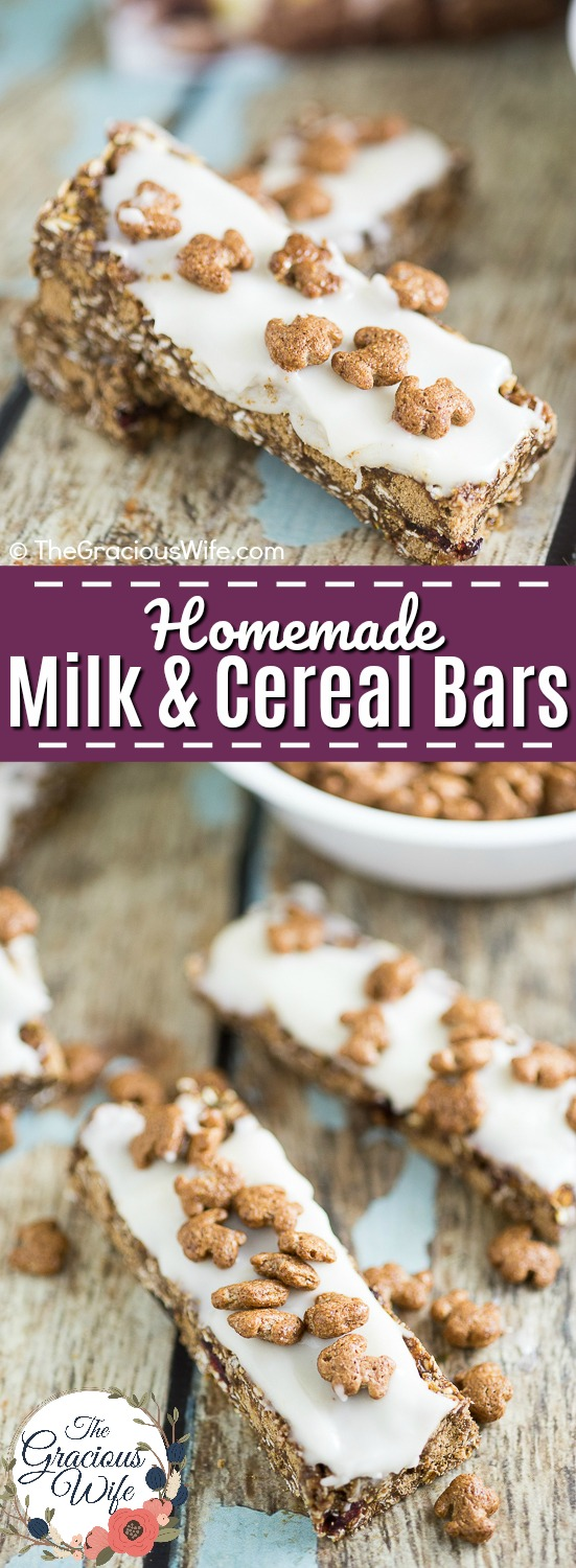 Homemade Milk and Cereal Bars made with Annie's Cocoa Bunnies Cereal are a perfect grab-and-go easy breakfast for kids that is totally customizable to what you love!