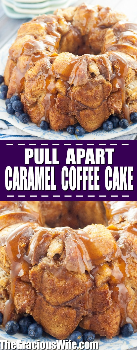 Pull Apart Caramel Coffee Cake recipe -Pull Apart Caramel Coffee Cake takes just 10 minutes to prep for a sticky, gooey, caramel breakfast! Perfect quick and easy breakfast recipe to bake in the oven for a crowd on holiday mornings!