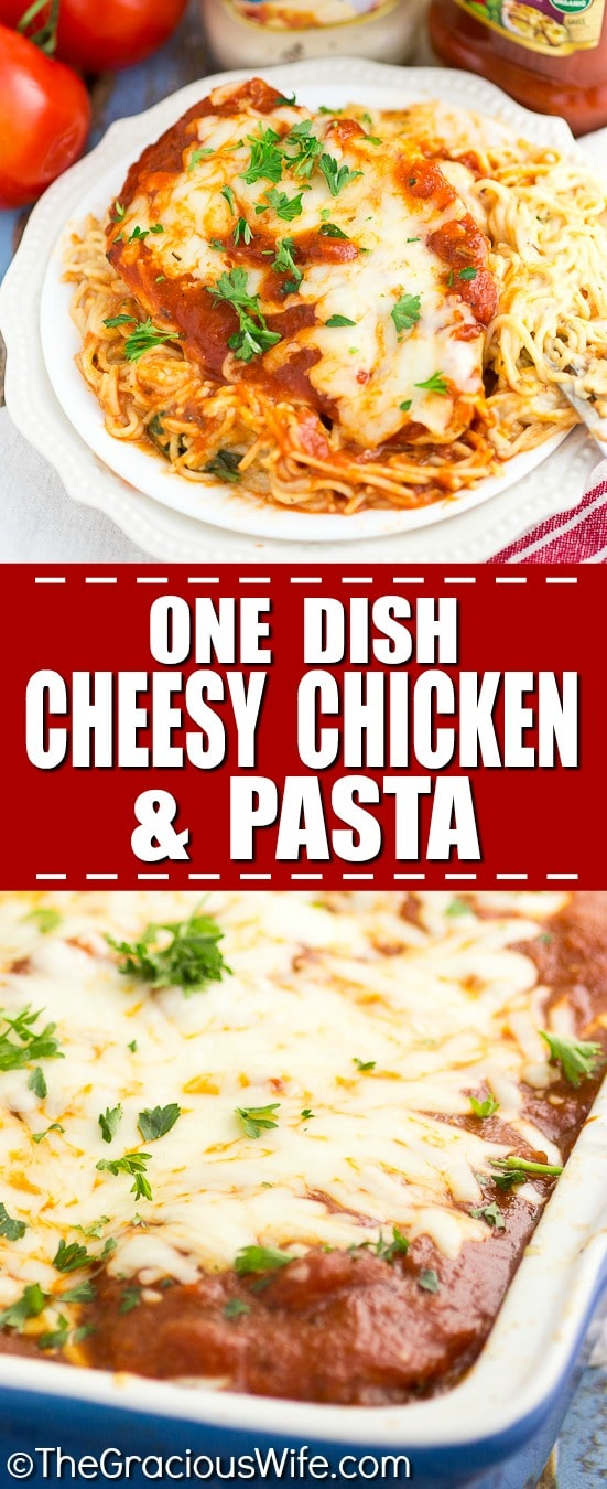 One Dish Baked Cheesy Chicken and Pasta Recipe -One Dish Baked Cheesy Chicken and Pasta with a creamy tomato marinara pasta, spinach, mozzarella, and Parmesan topped with juicy chicken breast. Mix it all together and bake for a simple, easy and delicious one dish meal!