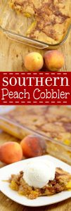 Southern Peach Cobbler Recipe  - an easy, yummy dessert recipe.  Fresh or canned sweet peaches covered  covered in butter, brown sugar and spices and topped with a simple moist cobbler batter and cinnamon sugar topping. Great for parties and holidays!   This is so delicious with ice cream on top.  It adds just the right amount of creamy.