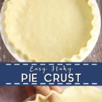 Photo collage with top photo of unbaked pie crust in a pie dish, bottom photo is a closeup of two hands fluting the edges of an unbaked pie crust, with the words