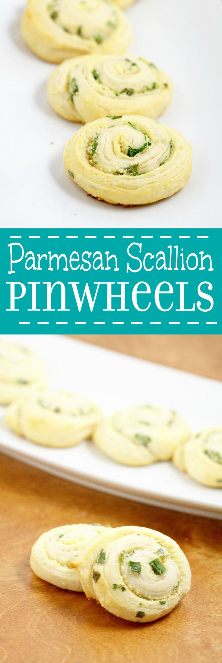 Parmesan Scallion Pinwheels Recipe- An easy, quick, and delicious appetizer recipe idea. Great for a party, Christmas, or a crowd. The buttery goodness of crescent rolls with Parmesan cheese and scallions for a pop of flavor.