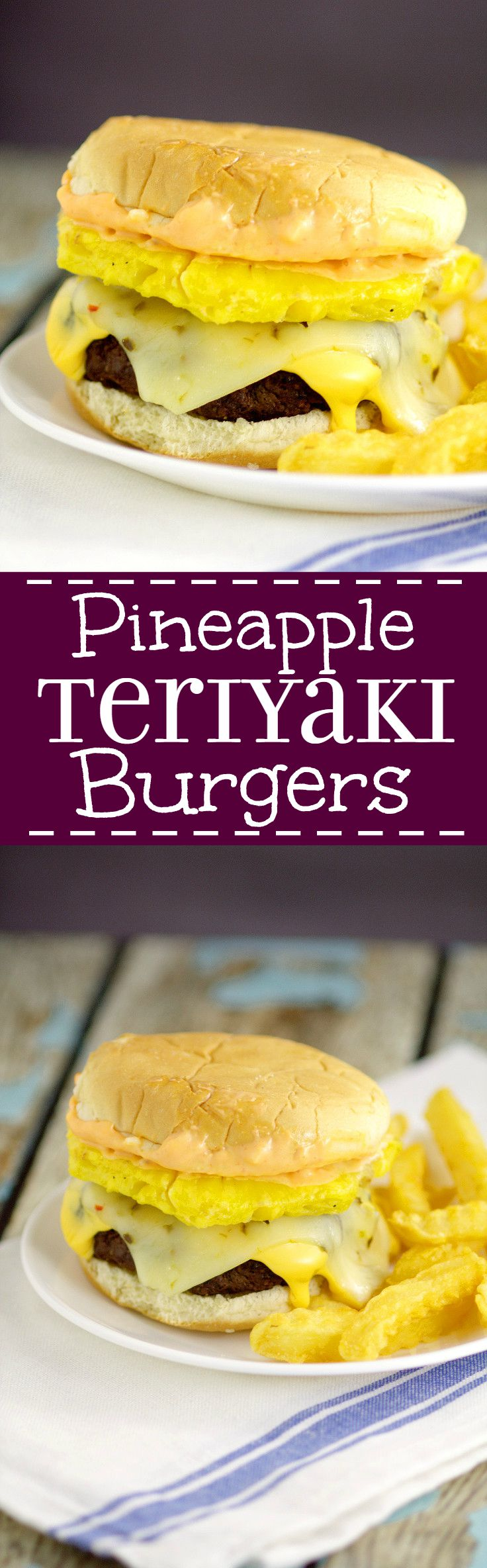 Pineapple Teriyaki Burgers recipe - Traditional juicy hamburgers featuring a sweet pineapple topping with tangy Teriyaki sauce right in the burger. Top with lots of gooey cheese! Super yummy Summer grill, cookout, or BBQ idea!