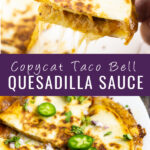 Collage of 2 images. Top image is hand picking up a quarter of a gooey, cheesy quesadilla from a white plate. Bottom image is a quesadilla on a white plate topped with fresh jalapeno slices, cilantro, and red onion on a white plate with the text