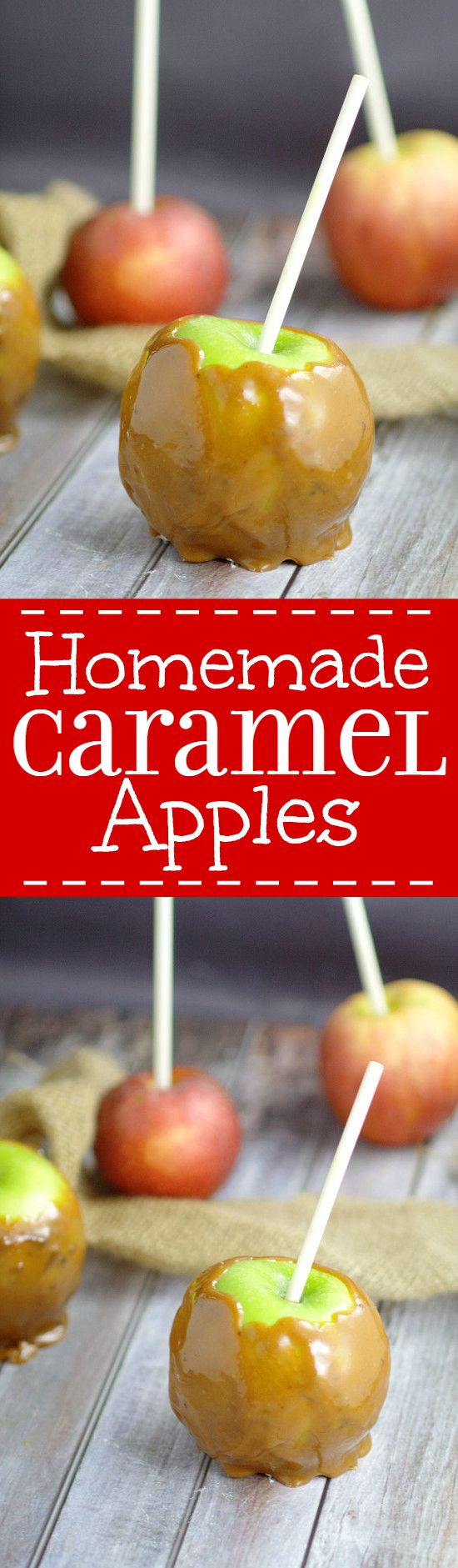 Homemade Taffy Apples are a perfect Fall treat with homemade, gooey and sweet caramel wrapped around fresh, tart apples that the whole family will love. Caramel Apples from scratch are amazing! Love this for a Fall dessert recipe.