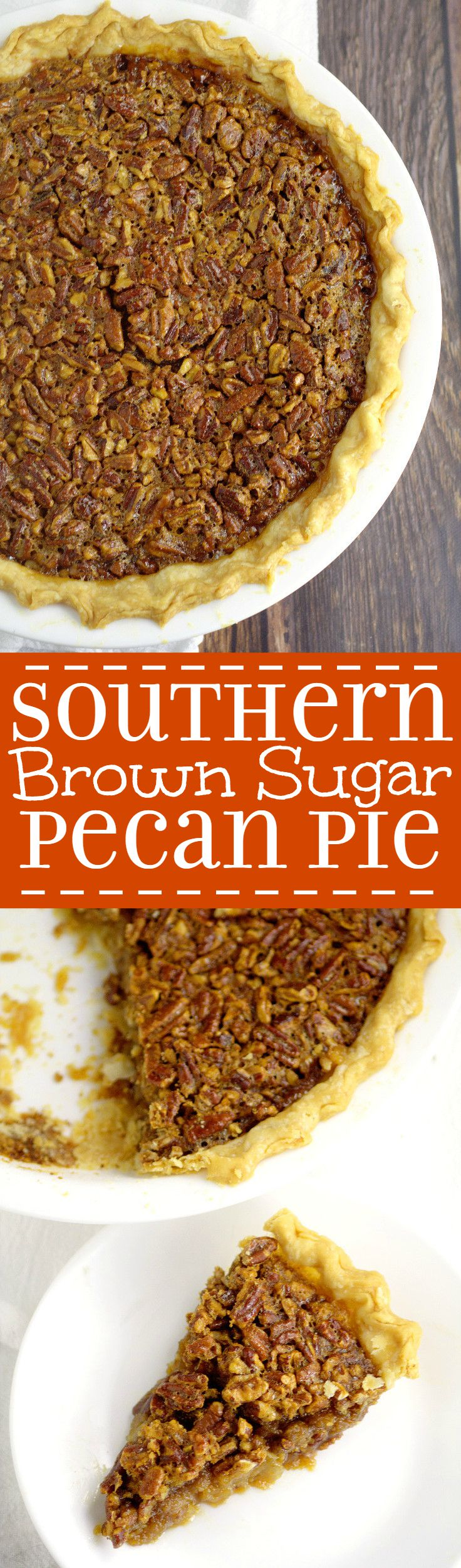Southern Brown Sugar Pecan Pie- A super simple but absolutely delicious Southern Pecan Pie recipe. I make these for the holidays every year, and they are amazing! A gooey, caramel-like filling is topped with crunchy pecans, all in a perfect, flaky pie crust.