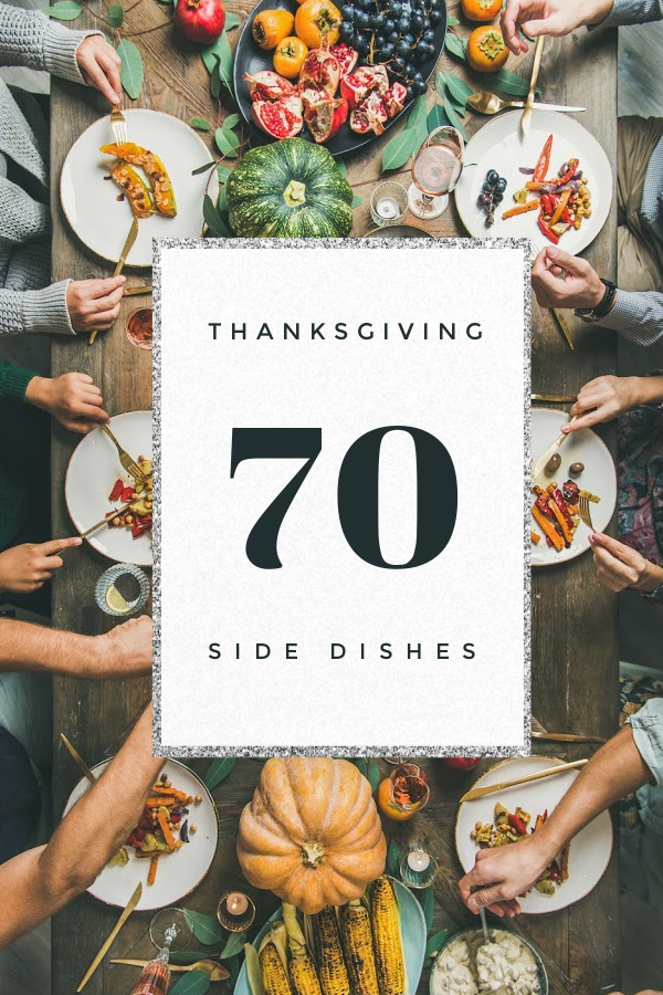 Hands around a table dishing out a Thanksgiving Feast with the words