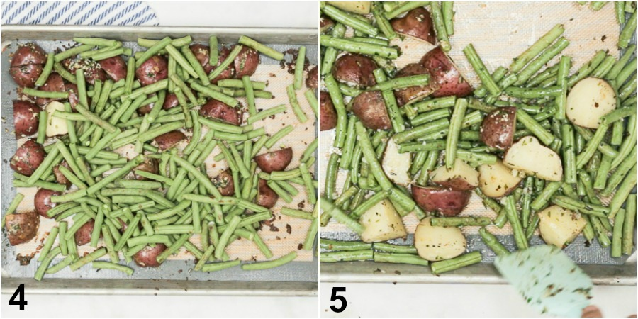 Collage of green beans being added to baking sheet with potatoes then being coated with garlic herb butter mixture.