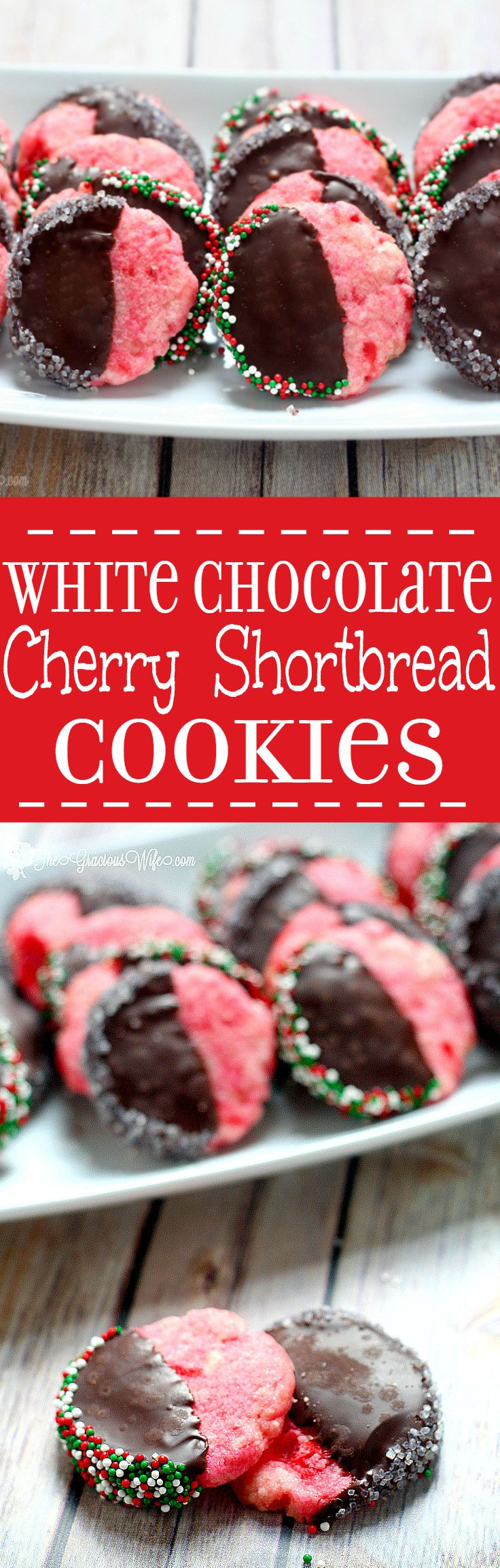 White Chocolate Cherry Shortbread Cookies are a delicious combination of creamy white chocolate and sweet maraschino cherries, dipped in milk or dark chocolate. A perfect and festive Christmas Cookies recipe that's super easy too! Love maraschino cherries!