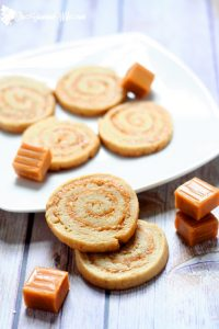These Caramel and Cream Pinwheels are a wonderful combination of a soft, chewy cookie swirled with sweet, creamy caramel. From A Week of Christmas Cookies Recipes from TheGraciousWife.com