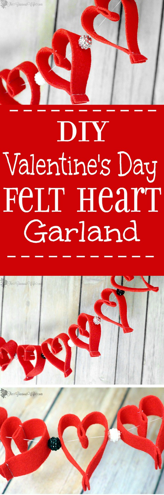 Valentine's Day Heart Felt Garland - Easy and frugal DIY heart felt garland for Valentine's Day decorations. Cute!