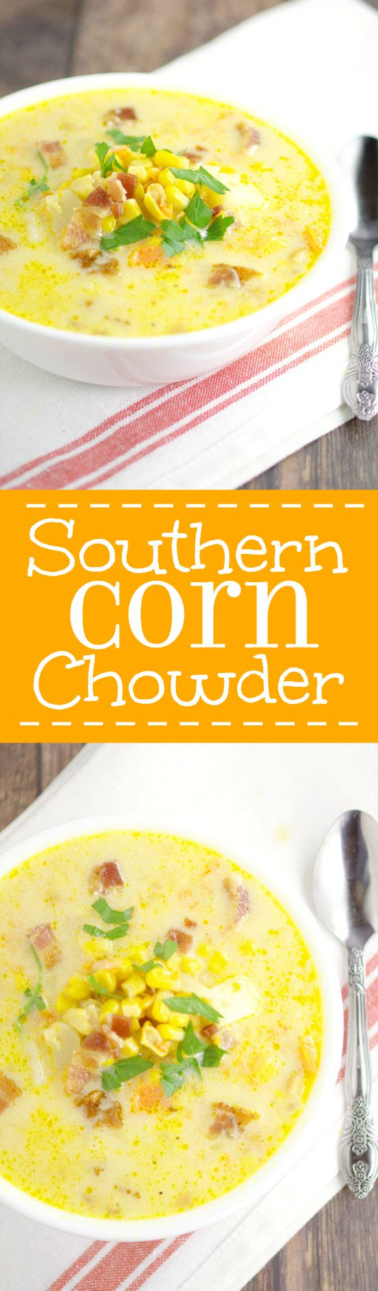 Hearty, cozy, creamy soup recipe,Southern Corn Chowder with potato, bacon, cheese, vegetables, and of course, lots of corn, will warm you up on those chilly days. Fresh, frozen, or canned corn all work for this delightful warm soup recipe. Serve with warm, buttery, crusty bread.