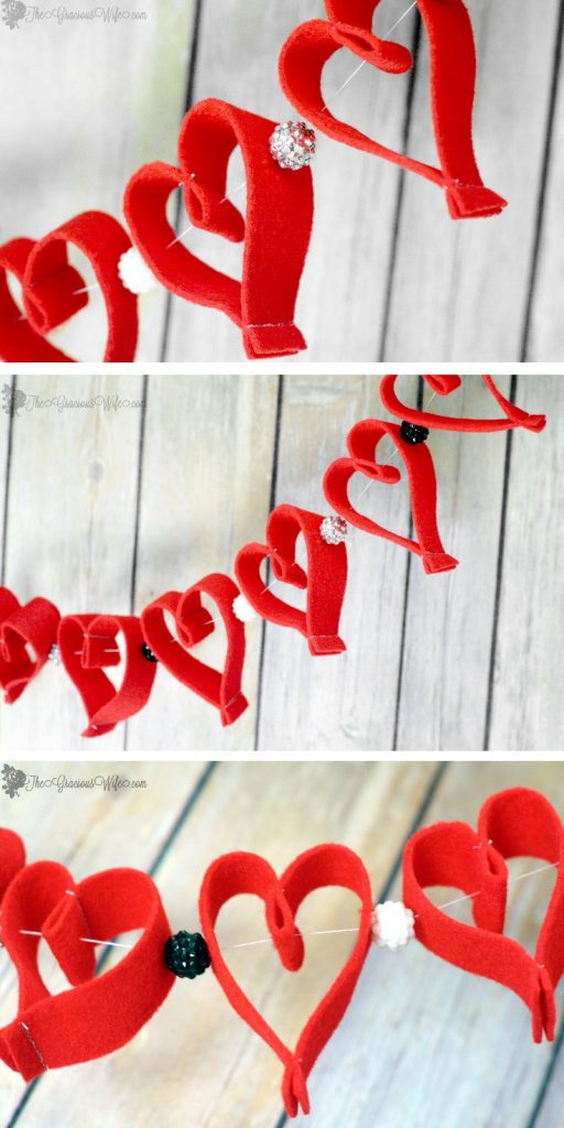 Valentine's Day Heart Felt Garland- Easy and frugal DIY heart felt garland for Valentine's Day decorations. Cute!
