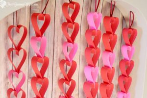 Valentine's Day Heart Paper Garlands- Easy and frugal DIY heart paper garlands for Valentine's Day decor. TWO different tutorials! From TheGraciousWife.com