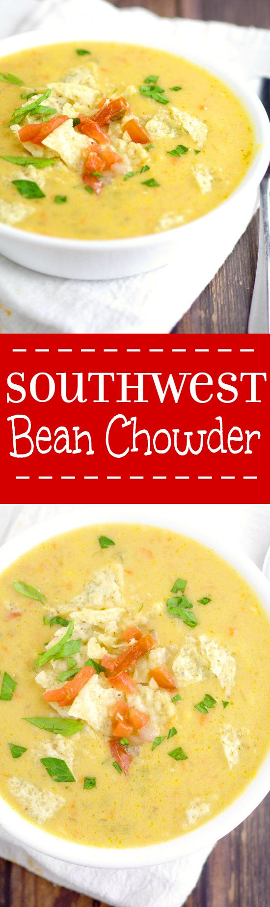 Southwest Bean Chowder Recipe is a creamy soup recipe that tastes like chicken tortilla soup! Creamy, cheesy,... So good! Definitely one of my favorites! This soup recipe would also be delicious with chicken. Love the tortilla chips on top!