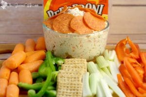 Pepperoni Italian Veggie Dip Recipe - an easy cold dip recipe with cream cheese.  This is so amazing with fresh vegetables or crackers! Perfect for a party!