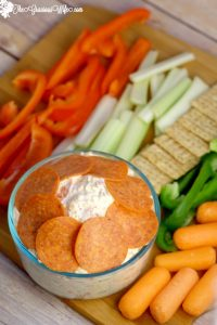Italian Veggie Dip Recipe - an easy cold dip recipe with cream cheese. Italian Veggie Dip is a cool, creamy, and fresh Italian veggie dip packed with pepperoni, cheese, and lots of flavor. Serve with an assortment of colorful veggies.This is so amazing with fresh vegetables or crackers! Perfect for a party!