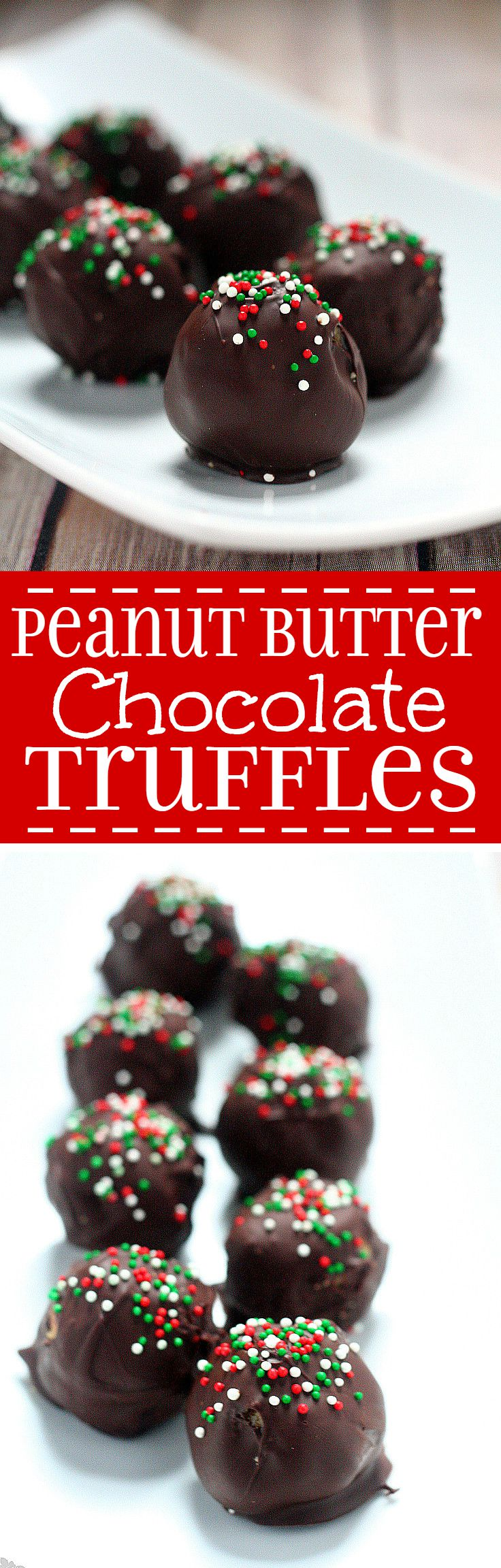 Peanut Butter Chocolate Truffles with creamy, salty peanut butter covered in decadent chocolate and festive sprinkles will be the hit at your Christmas party. This easy homemade Christmas truffles recipe is great for a Christmas cookies exchange. Mmmm.... Must try for all Reese's lovers!
