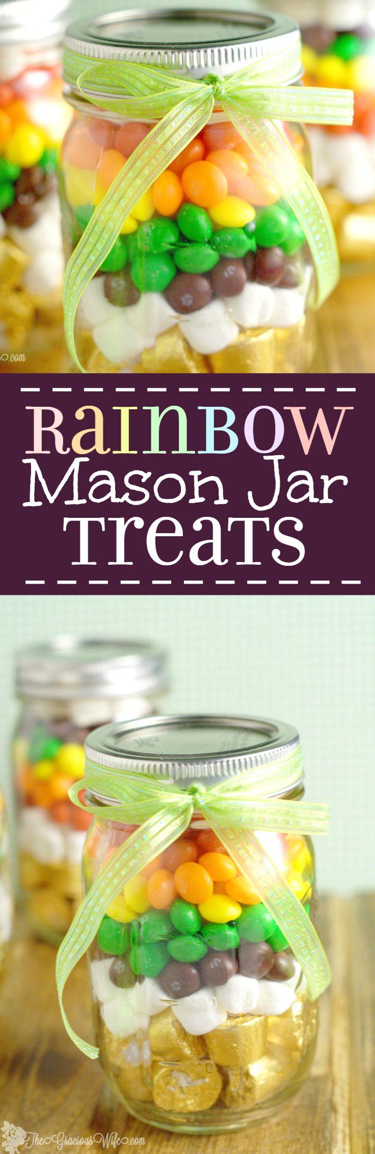 Rainbow Mason Jar Treats -a fun St Patrick's Day treat in a mason jar, perfect for kids or a DIY gift idea for teachers or friends.  Super cute rainbow party favor too! | DIY crafts | mason jars