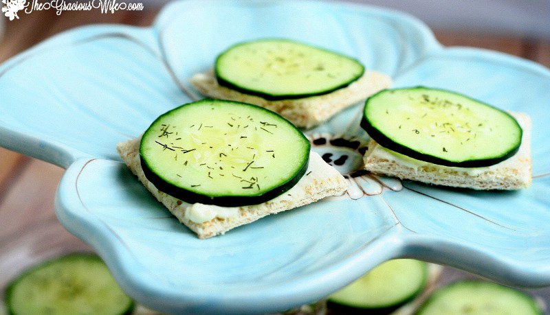 Cucumber Sandwiches Recipe- Perfect for a snack or appetizer. Bread squares with cream cheese, ranch, cucumbers and dill. #cucumbers #appetizers #teasandwiches #sandwiches From TheGraciousWife.com