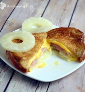 Hawaiian Grilled Cheese Sandwich is the perfect combination of sweet pineapple, salty ham, and gooey cheese. A fun and delicious twist on an American classic. A super easy recipe that's perfect for a quick dinner or an easy lunch. Yummy! Love sweet and salty together!
