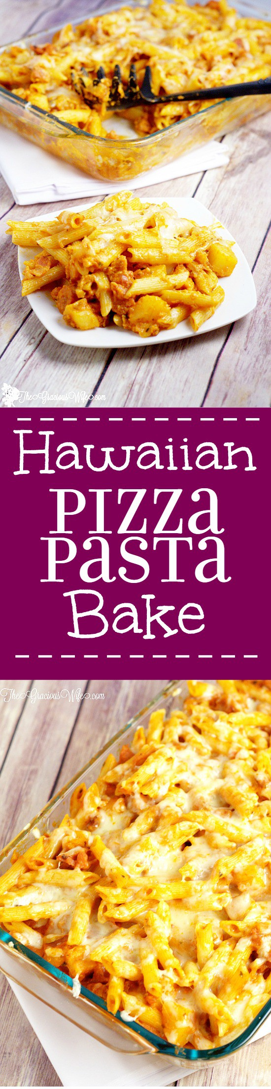 Hawaiian Pizza Pasta Bake Recipe - an easy dinner recipe idea! Cheese, bacon, ham, and pineapple make this pasta recipe incredible! I really love the extra flavor that the bacon and ham add to this. Plus, cheese!