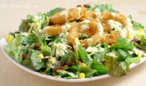 Onion Ring Southwest Salad with Spicy Honey Mustard Dressing   From TheGraciousWife.com