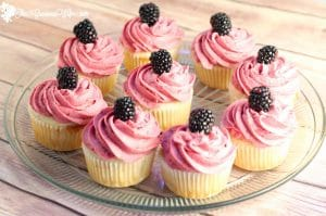 Lemon Blackberry Cupcakes Recipe - This lemon cupcakes recipe is delicious and refreshing. Would be so pretty for a party or shower!