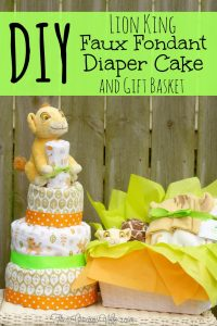 DIY Lion King Faux Fondant Diaper Cake - an adorable DIY addition to a baby shower for a baby boy or a baby girl. And you can use the crafts supplies to decorate the nursery after the baby shower! From TheGraciousWife.com