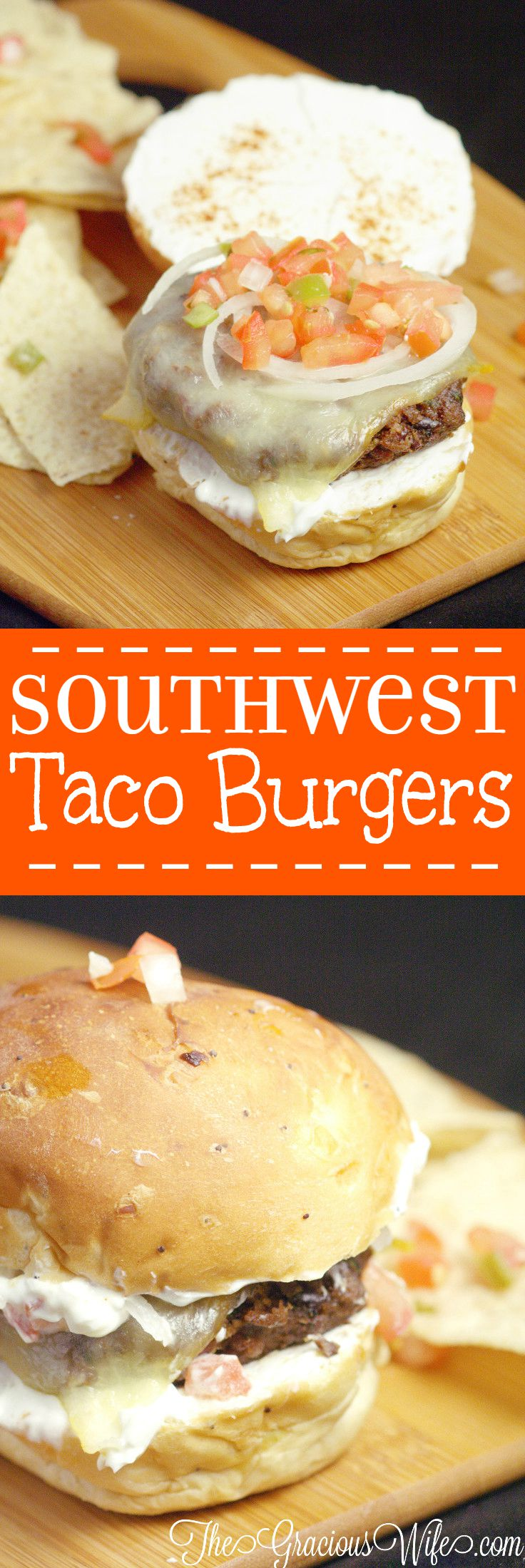 Southwest Taco Burgers Recipe - a homemade beef burger recipe with homemade taco seasoning, grilled to perfection and dressed up like a taco. So easy but amazingly delicious!