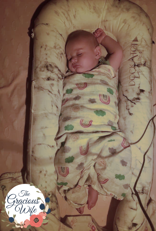 Baby in a dockatot and muslin blanket