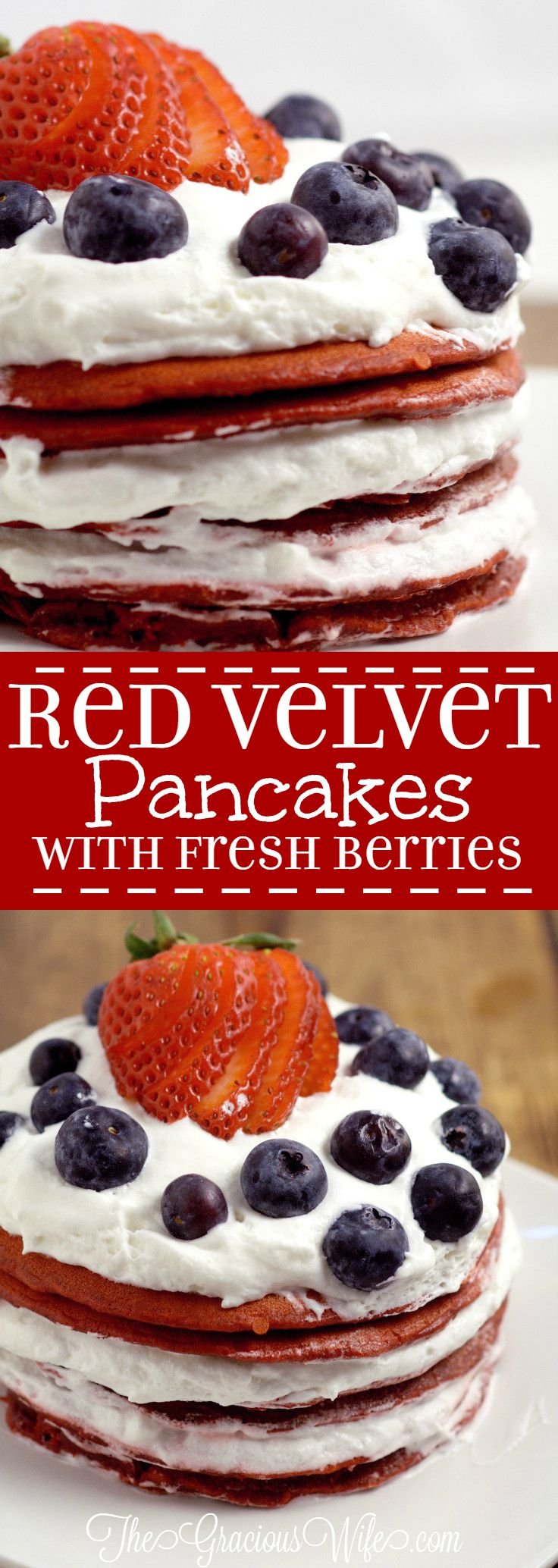 Red Velvet Pancakes Recipe with fresh berries - a delicious breakfast recipe with red velvet pancakes, whipped cream, and fresh berries. The patriotic red white and blue are super cute for a 4th of July breakfast food idea too!