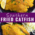 Collage of fried catfish with a stack of fried catfish next to lemon wedges on the top and a single fried catfish filet next to coleslaw on the bottom with the words