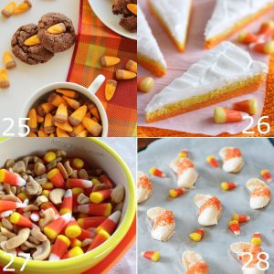 36 delicious and fun Candy Corn Dessert Recipes that are made with candy corn or look like candy corn.  A fun way to celebrate Fall and Halloween! Candy corn is a perfect Halloween food. These recipes would be such great ideas for kids Halloween party!