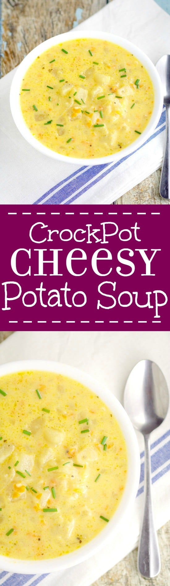 Crockpot Cheesy Potato Souprecipe is a warm classic potato soup recipe with tender potatoes, gooey cheese, and lots of creamy flavor. Serve with warm crusty bread for the perfect dinner. Mmm... Looks amazing!