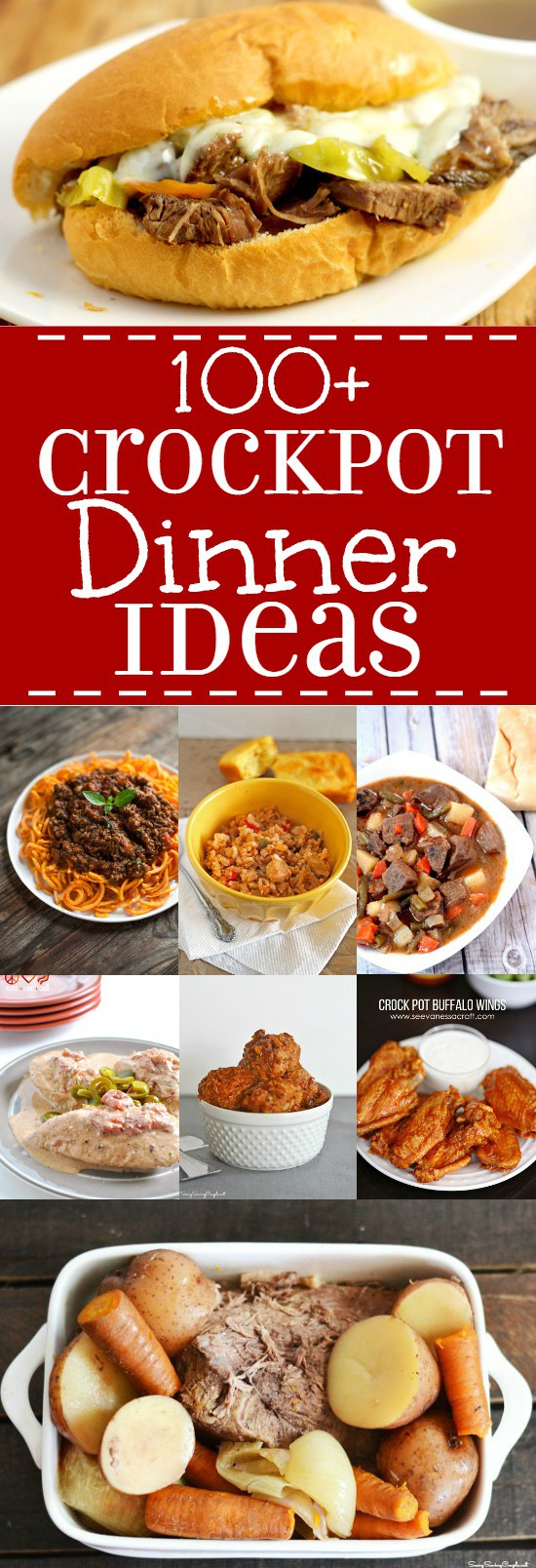 Over 100 easy and delicious Crock Pot Dinner Ideas with slow cooker recipes that are perfect for busy nights and the whole family!