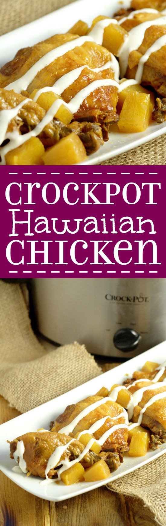 Just 3 ingredients in this Crockpot Hawaiian Chicken recipe for a delicious fix-it-and-forget-it family dinner meal, cooked in the slow cooker. Sweet pineapple and spicy BBQ make this chicken amazing!