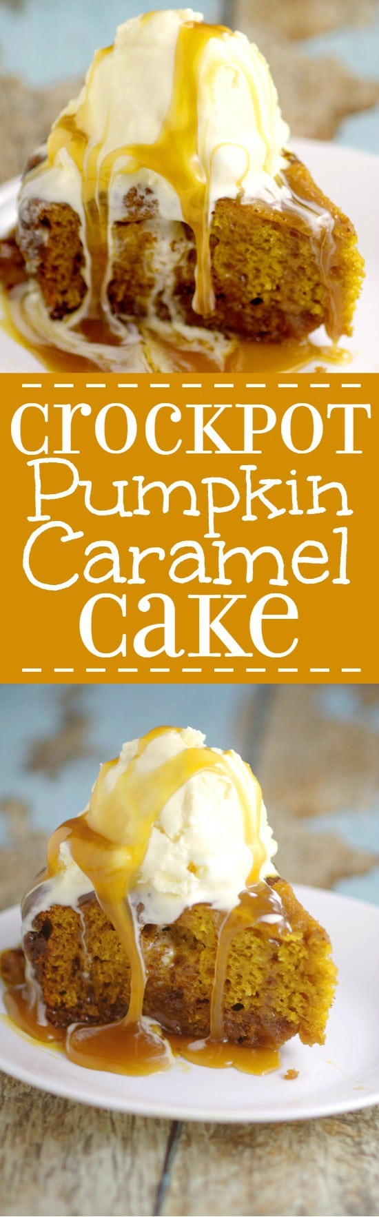 Rich, moist spiced pumpkin cake and gooey sweet caramel come together in this Crockpot Pumpkin Caramel Cake recipe to make a decadent and festive slow cooker Fall dessert recipe! Pumpkin spice and caramel in the Crockpot?! Can't go wrong there!