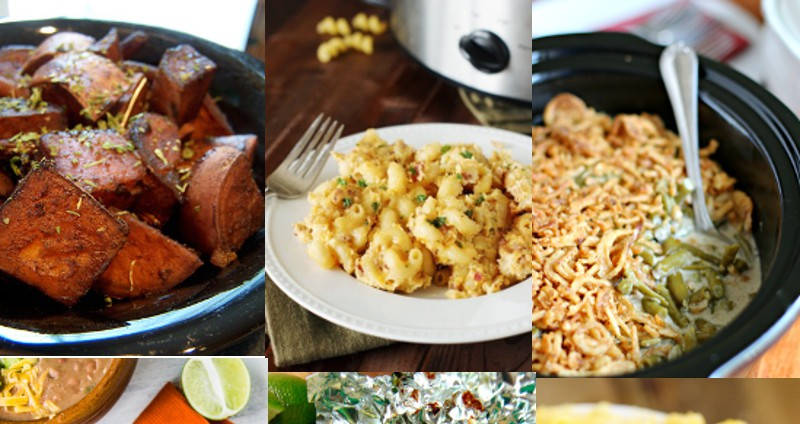 36 delicious and easy Crockpot Side Dishes recipesgive you the chance to focus on dinner while all the yummy side dishes cook themselves in the slow cooker.  Crockpot side dishes recipe ideas including vegetables, potatoes, breads, mac and cheese, rice and pasta and more, all in the slow cooker!
