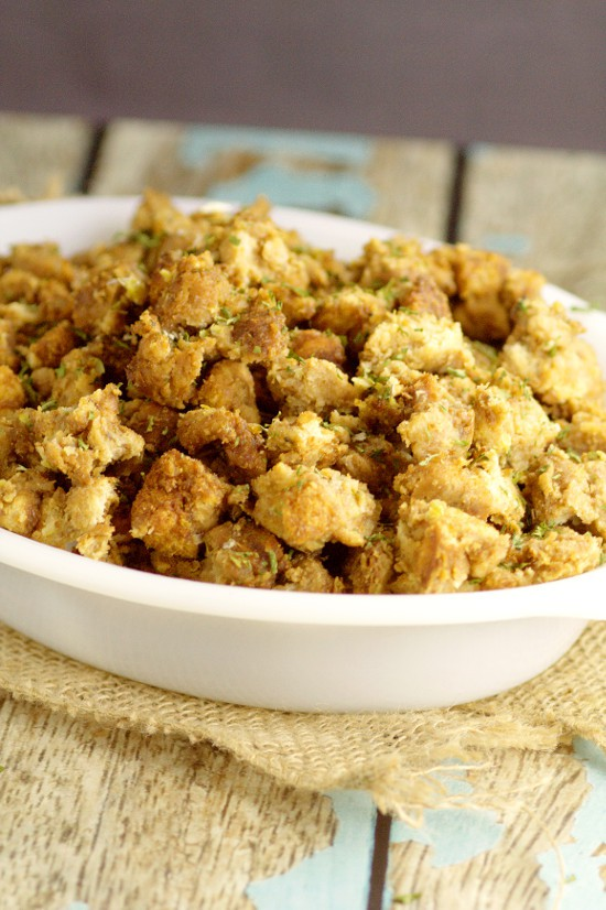 Free up your oven for the turkey with this moist, tender, crispy, and cozy Crockpot Stuffing recipe. An instant sanity-saving holiday classic. Crockpot Stuffing is the perfect side dish for Thanksgiving and Christmas.  Plus, there's directions here to change any stuffing recipe into slow cooker stuffing.