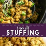 Free up your oven for the Thanksgiving turkey with this simple and classic Crockpot Stuffing! I changed up my grandma's homemade traditional stuffing recipe into an easy slow cooker version wiht onions, celery, and herbs, cooked to perfection! This is seriously the BEST!