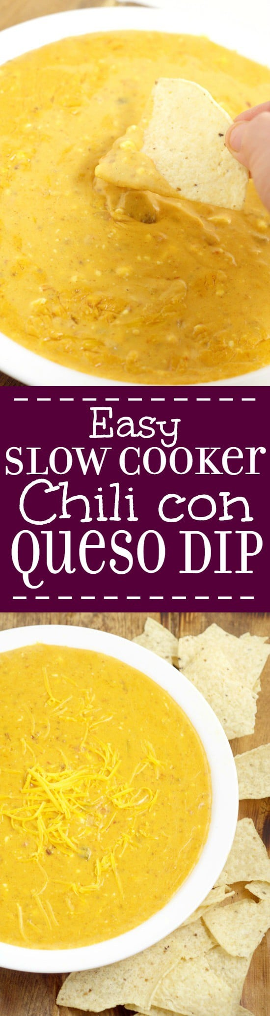 Creamy, gooey, cheesy Easy Slow Cooker Chili con Queso Dip recipe has ...