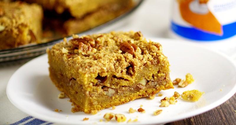 Rich and moist Pumpkin Cinnamon Coffee Cakerecipe made with pumpkin pie yogurt, pumpkin, and a crunchy cinnamon-pecan streusel for an amazing Fall breakfast recipe. Also freezer friendly! OMG. Pumpkin spice for breakfast?!