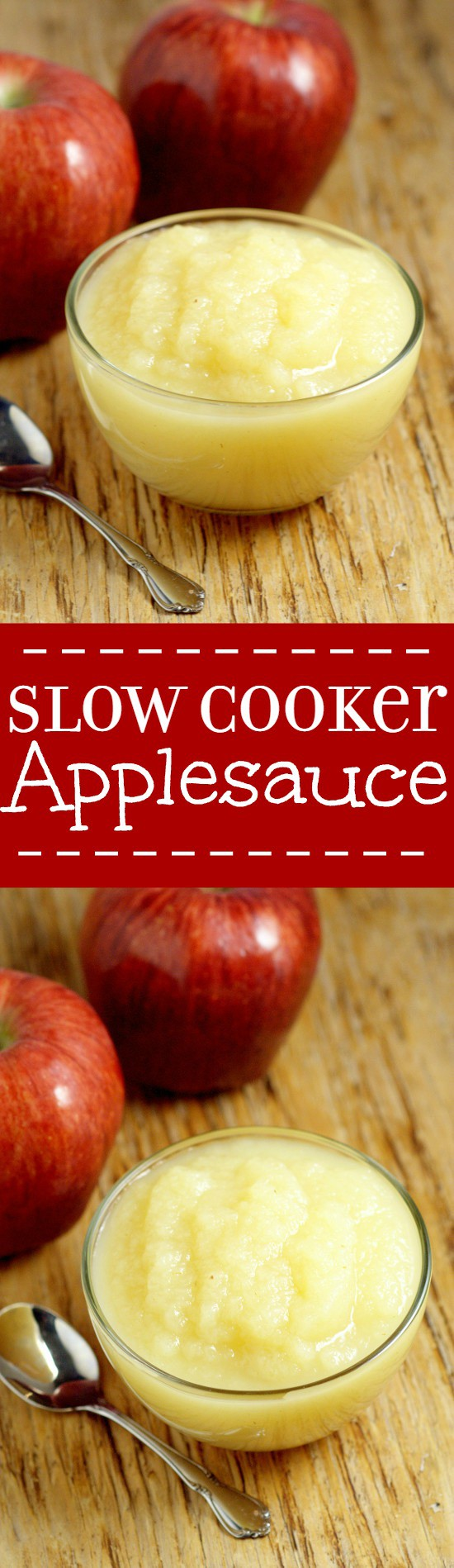 Making your own Slow Cooker Applesauce couldn't be easier with just ONE ingredient!  A healthy and delicious snack recipe for kids that's easy to make, right in your Crockpot! Freezer friendly too! Perfect! Love that you know EXACTLY what's in it!