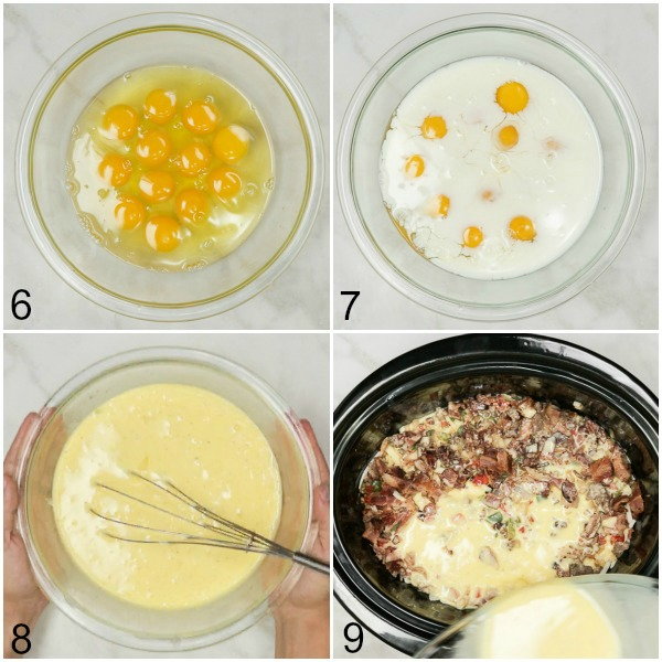Collage of eggs being mixed with milk and poured into slow cooker