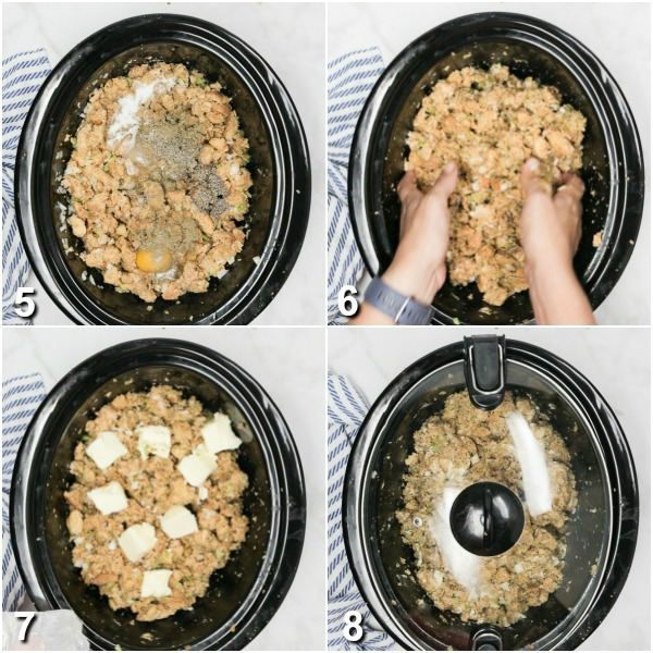 collage of seasonings, eggs, and butter being added and mixed into crockpot stuffing