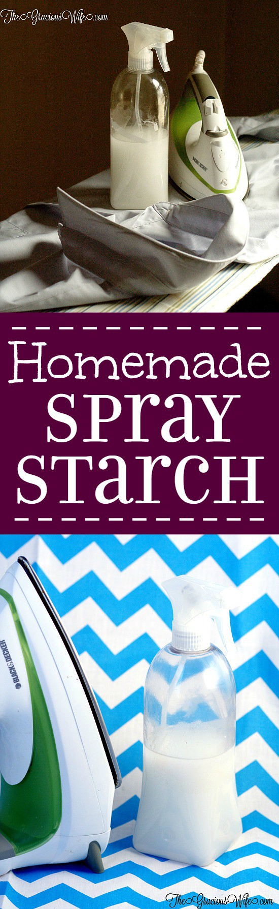 Homemade Ironing Starch - Did you know you can make your own DIY spray starch for ironing? What an amazing life hack!