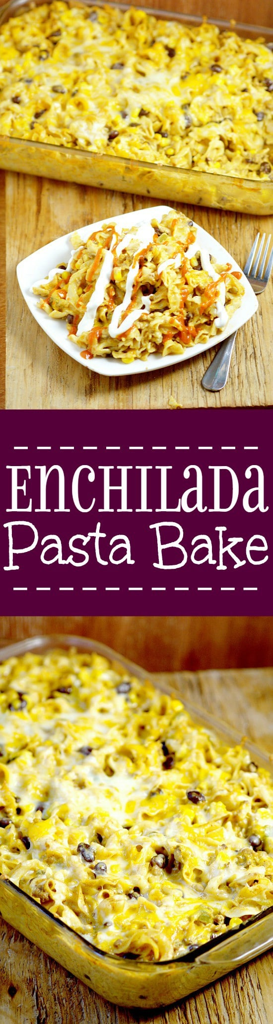 Enchilada Pasta Bake recipe is a delicious way to use up leftover taco meat and great for family dinner.  Noodles tossed with a creamy, cheesy, and slightly spicy sauce mixed with taco-seasoned ground beef, corn, and black beans. Perfect easy pasta recipe for family night!